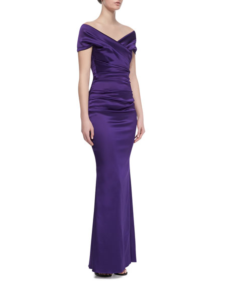 Off-Shoulder Ruched Bodice Gown, 800 Viola