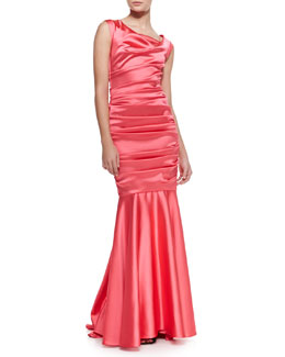 Talbot Runhof Donde Satin Cap-Sleeve Mermaid Gown