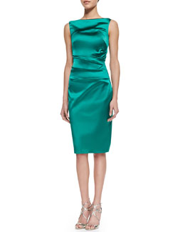 Talbot Runhof Dowina Sleeveless Ruched Satin Cocktail Dress