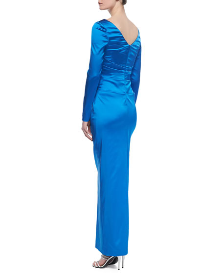 Dowina Long-Sleeve Ruched-Side Gown, Imperial Blue