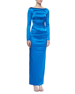 Talbot Runhof Dowina Long-Sleeve Ruched-Side Gown, Imperial Blue