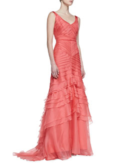 Theia by Don O'Neill Sleeveless Layered Mermaid Gown, Coral