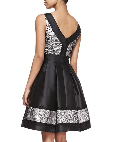 Theia Sleeveless Lace Detail Cocktail Dress Black/White