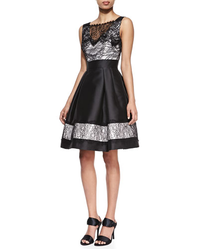 Theia Sleeveless Lace Detail Cocktail Dress, Black/White