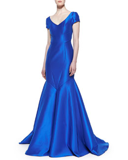 Theia Seamed Satin Mermaid Gown