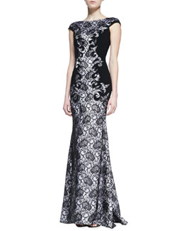 Theia Cap Sleeve Lace Gown, Black/White