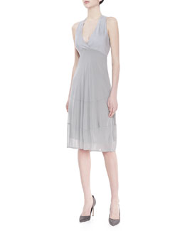 Donna Karan Sleeveless V-Neck Foundation Dress, Oyster