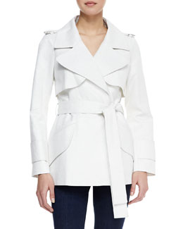 Yoana Baraschi Blue Short Trench Coat, Crystal White