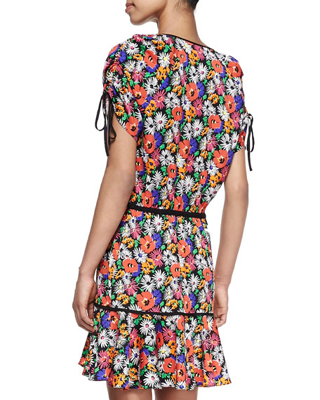 Hothouse Floral-Print Sleeveless Dress