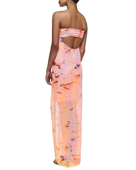 Elenor Color Splash Strapless Maxi Dress