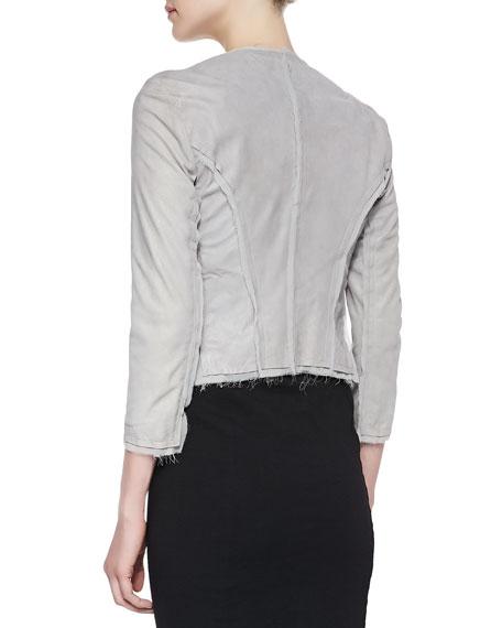 3/4-Sleeve Lambskin Leather Jacket, Oyster