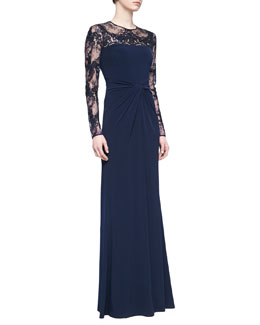 David Meister Long-Sleeve Lace Sequin Gown, Navy