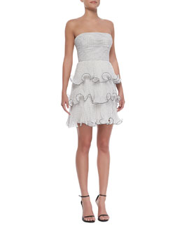 Erin by Erin Fetherston Strapless Tiered Ruffle Polka-Dot Dress, Black/White