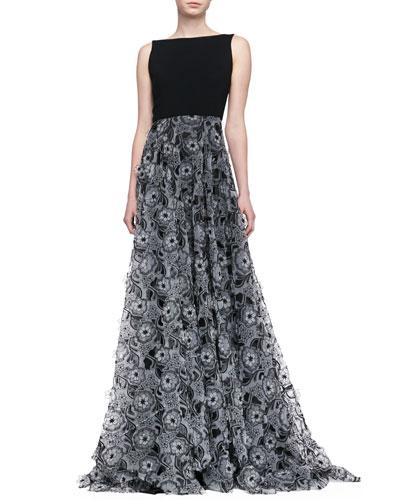 ERIN erin fetherston Sleeveless 3-D Floral Skirt Gown, Black/Ivory