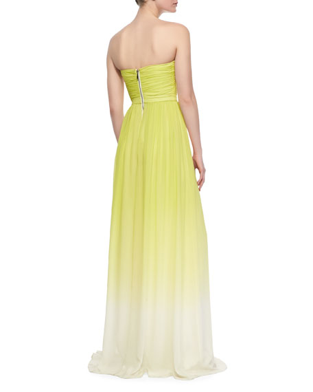 Strapless Ruched-Bodice Ombre Gown, Chartreuse