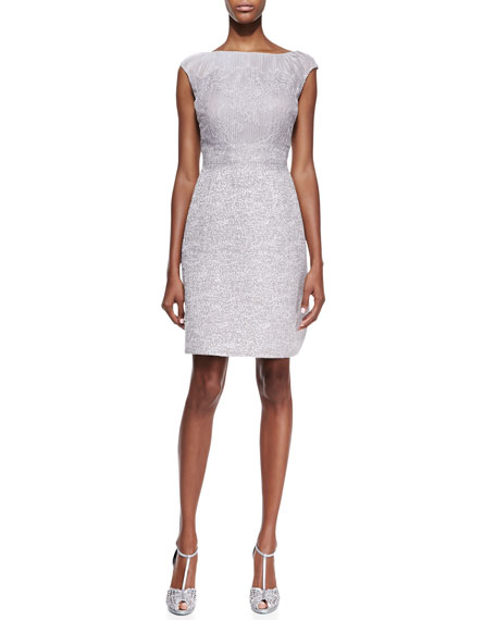 Cap-Sleeve Lace-Bodice Cocktail Dress, Silver