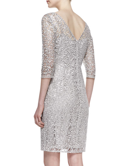3/4-Sleeve Lace & Sequin Overlay Cocktail Dress, Platinum