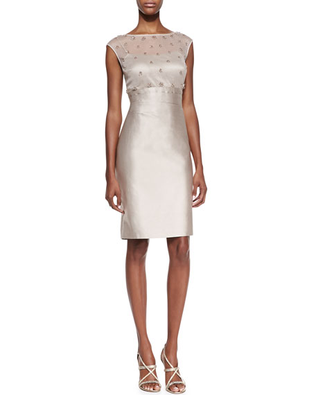 Cap Sleeve Mesh & Sequin Top Cocktail Dress, Champagne