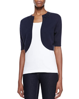 Kay Unger New York Sequin-Neck Elbow-Sleeve Bolero, Navy