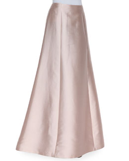 Kay Unger New York Wool-Silk A-Line Long Full Skirt