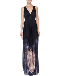 Donna Karan Embroidered Open Back Evening Gown, Deep Sea Blue