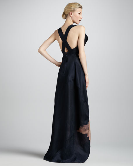Cross-Back Sculpted-Neck Gown