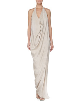 Donna Karan Draped Beaded Georgette Halter Gown, Natural