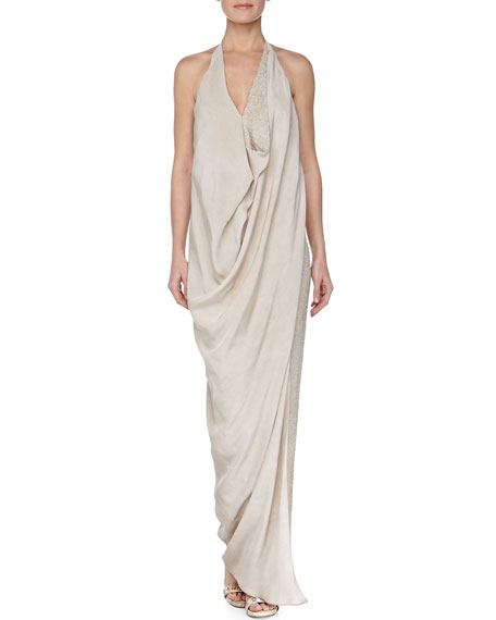 Draped Beaded Georgette Halter Gown, Natural