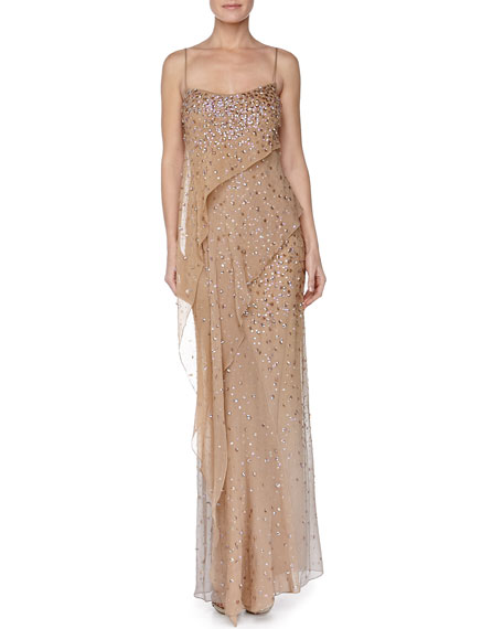 Embroidered Asymmetric Draped Evening Gown, Nectar