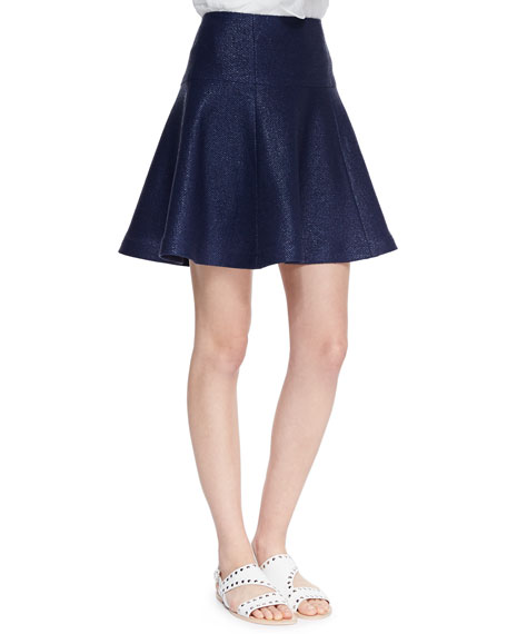 Smitten Paneled-Tweed Flare Skirt