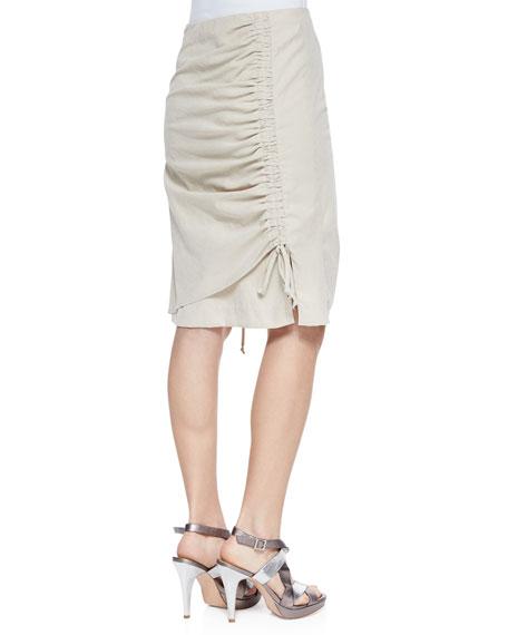 Whimsy Poplin Ruched Skirt, Sand