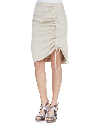 Whimsy Poplin Ruched Skirt, Sand