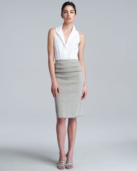 Pull-On Straight Skirt, Hemp