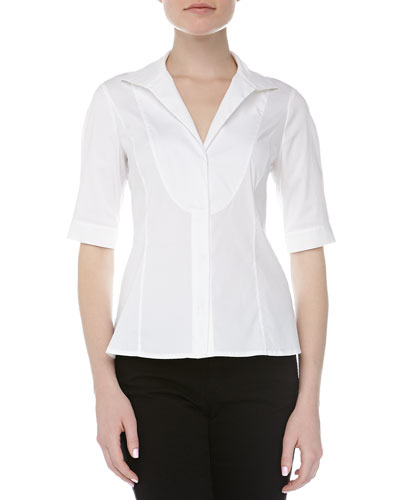 Donna Karan High Collar Bib Front Oxford Blouse, White