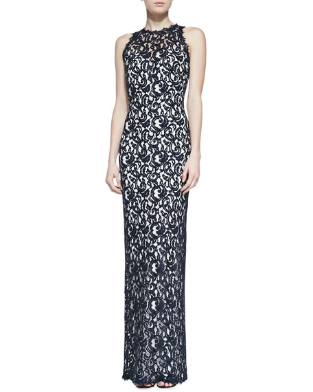Sleeveless Jewel-Neck Lace Column Gown, Navy/Ivy