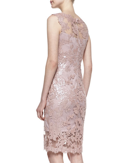 Sleeveless Lace Cocktail Dress, Antique Pink