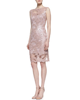 Tadashi Shoji Sleeveless Lace Cocktail Dress, Antique Pink