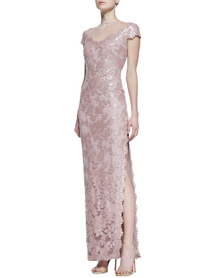 Short Sleeve Sequin & Lace Column Gown, Antique Pink
