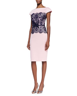 Tadashi Shoji Short-Sleeve Lace-Middle Belted Cocktail Dress, Pale Pink/Navy