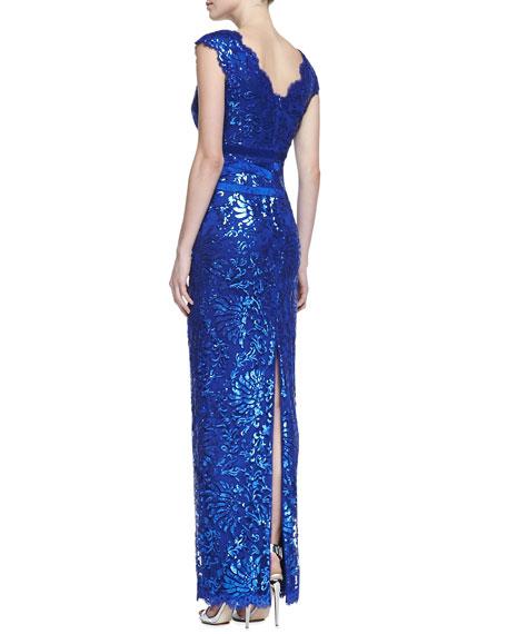 Cap-Sleeve Sequin Lace Column Gown, Lapis