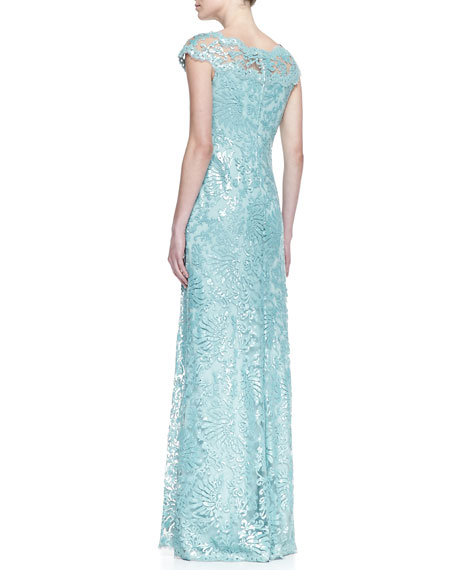 Short-Sleeve Sequin & Lace A-Line Gown, Mint