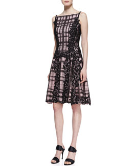 Tadashi Shoji Sequined Lace Panel Embroidered Cocktail Dress, Black/Pale Pink