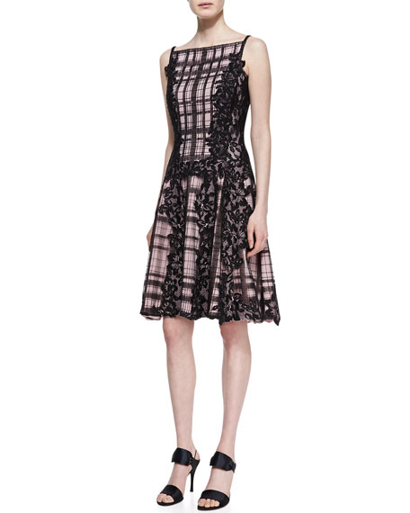 Sequined Lace Panel Embroidered Cocktail Dress, Black/Pale Pink