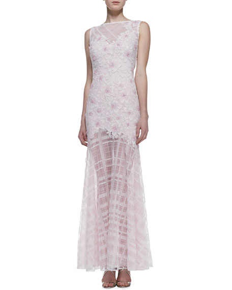 Sleeveless Floral Embroidered-Bodice Gown, Pale Pink