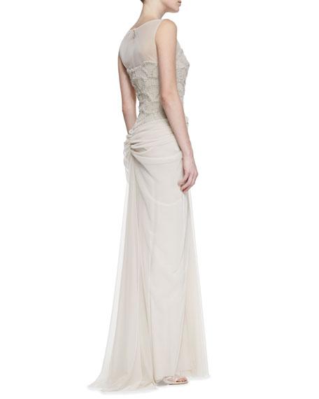 Sleeveless Beaded Fan-Bodice Gown, Latte