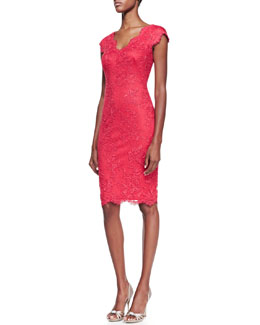 Tadashi Shoji Short-Sleeve Lace Cocktail Dress, Deep Rose