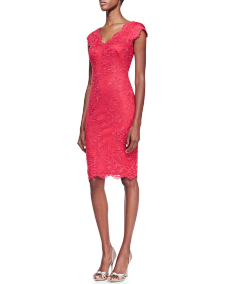 Short-Sleeve Lace Cocktail Dress, Deep Rose