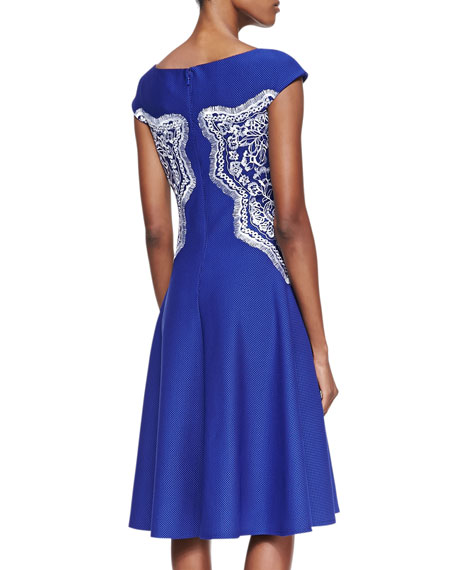 Lace Panel Fit & Flare Cocktail Dress, Lapis/White