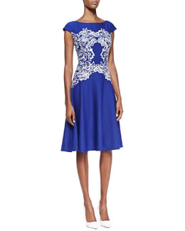 Tadashi Shoji Lace Panel Fit & Flare Cocktail Dress, Lapis/White