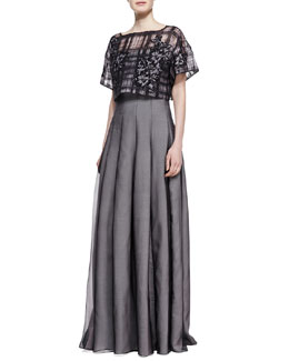 Tadashi Shoji Strapless Gown with Pop Top, Black/Pale Pink